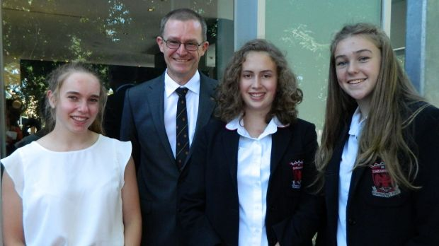 Teacher Mr Colin Price with students Rose Weller, Emma Johnson and Gabrielle Jarvis
