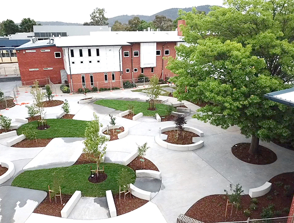 Dempsey Wing student spaces being landscaped early 2018